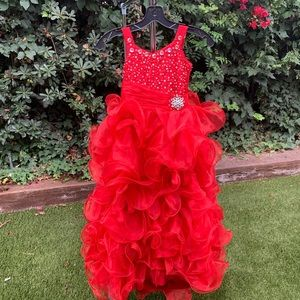 Red, Floor-length, Pageant Gown, Size 6